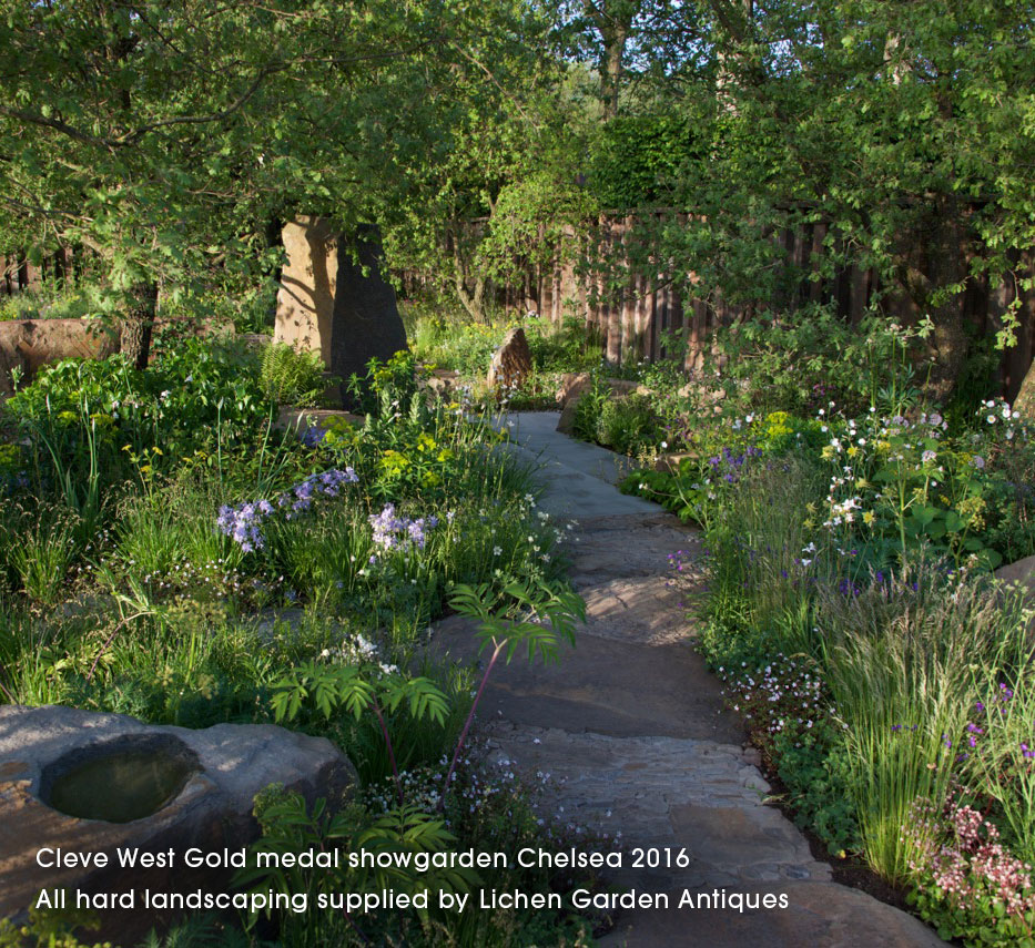 Cleve West Gold medal showgarden Chelsea 2016. All hard landscaping supplied by Lichen Garden Antiques.