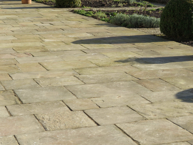 reclaimed garden paving