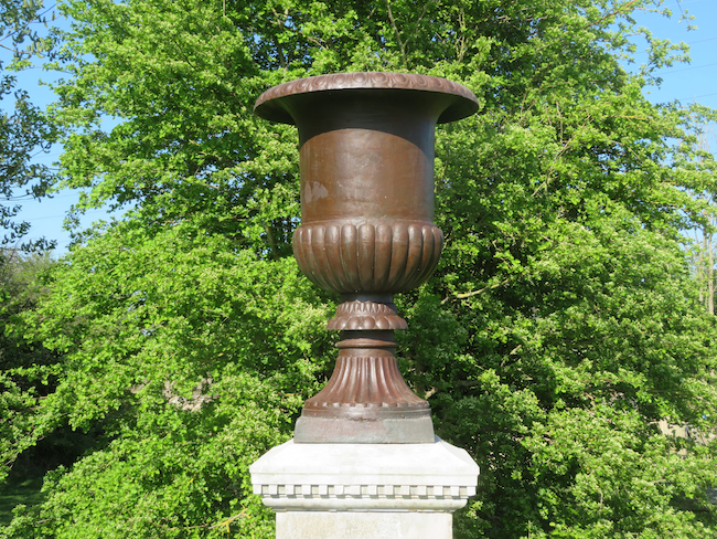 large cast iron garden urn